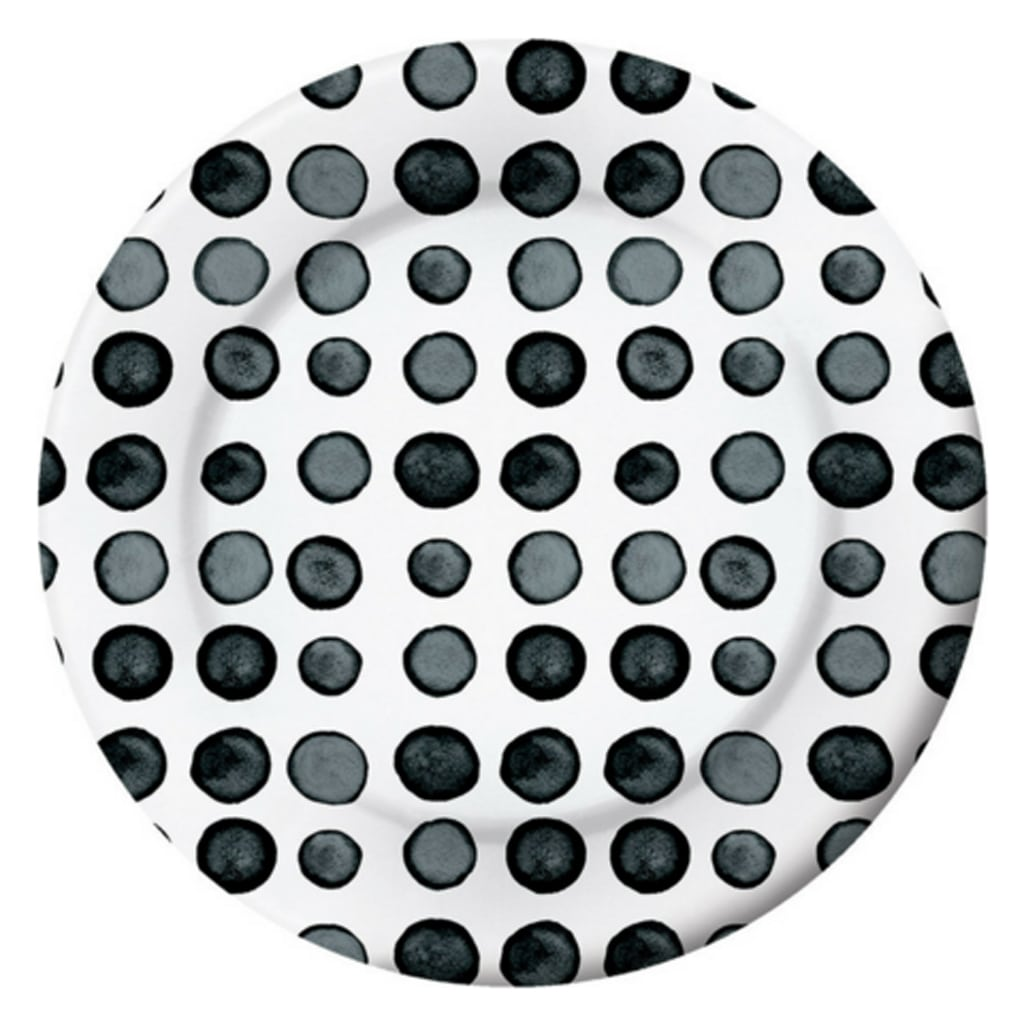 BLACK AND WHITE WATERCOLOR DOTS LARGE PLATE from Geese & Ganders