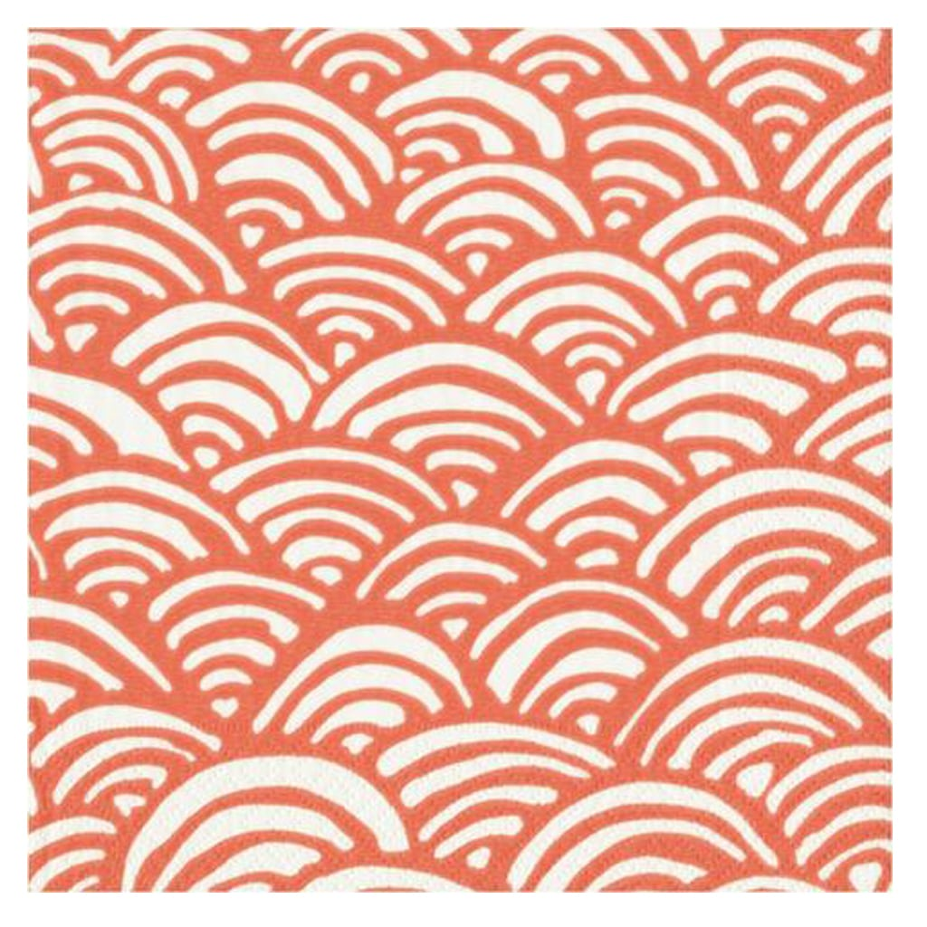 CORAL AND WHITE RAINBOW LARGE NAPKINS from Geese & Ganders