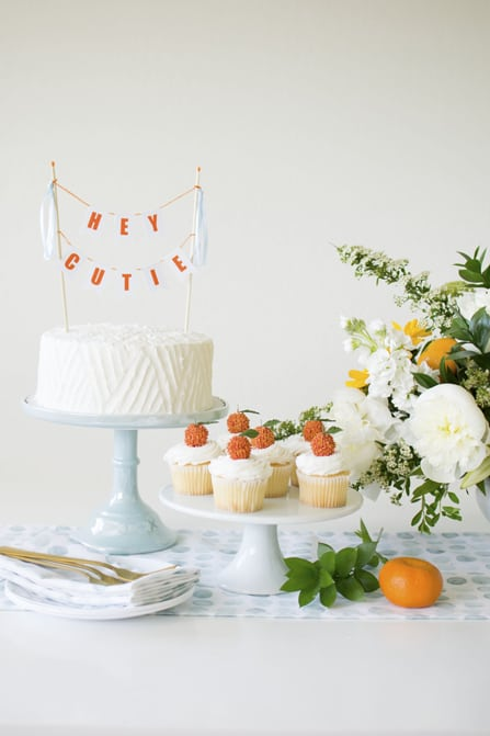 Cake and Cupcakes from Hey Cutie Baby Shower styled by Twinkle Twinkle Little Party | Black Twine