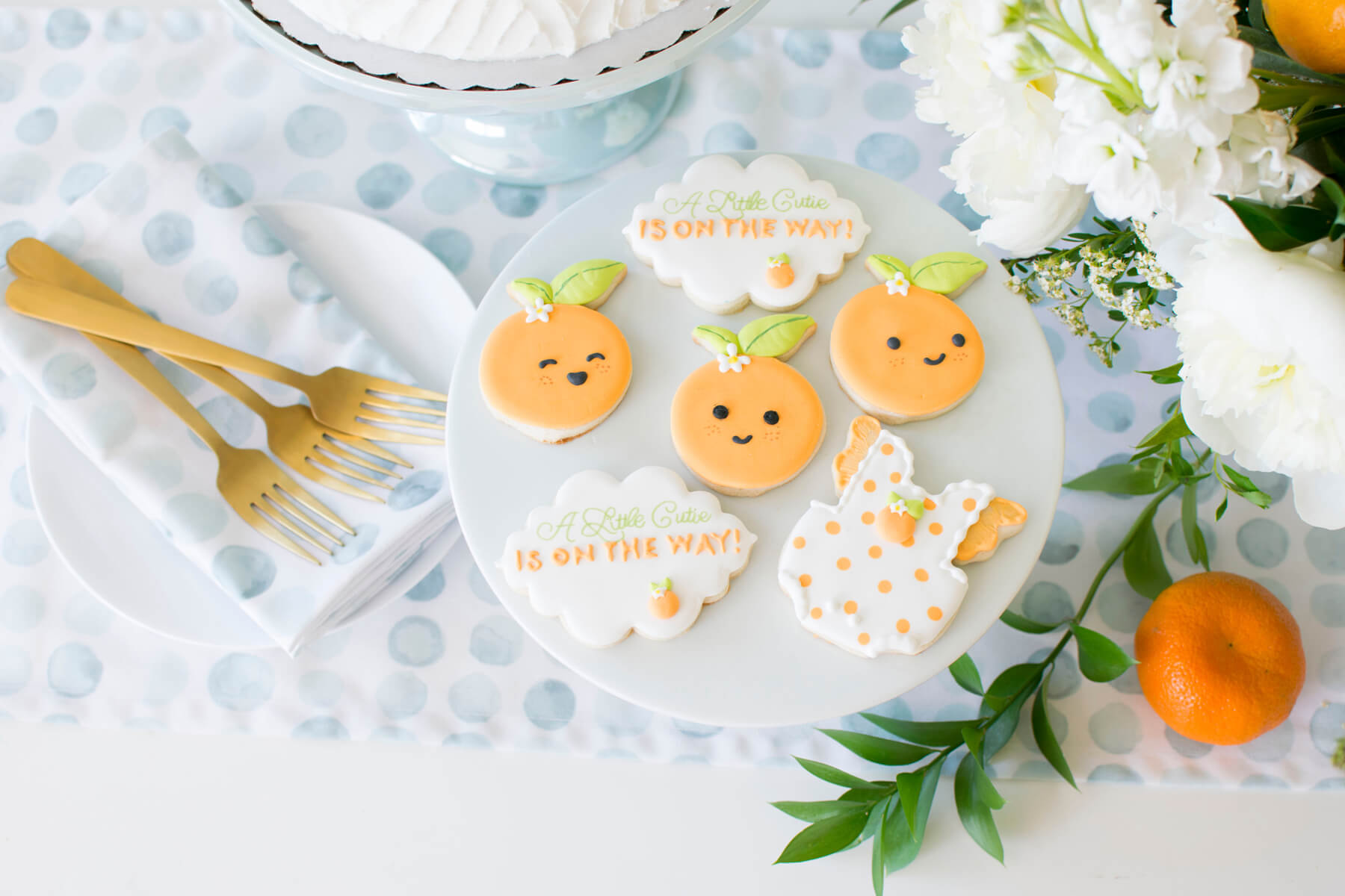 Dessert Cookies Flowers Tablerunner Napkins Forks from Hey Cutie Baby Shower styled by Twinkle Twinkle Little Party | Black Twine