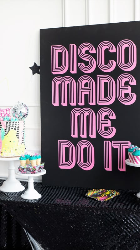 Disco Made Me Do It Sign and Cake from a Roller Disco Derby Party In Collaboration with Geese & Ganders and Styled by La Petite Fete | Black Twine
