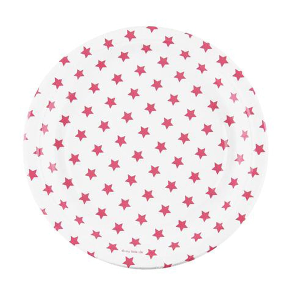 HOT PINK AND WHITE STARS LARGE PLATE from Geese & Ganders