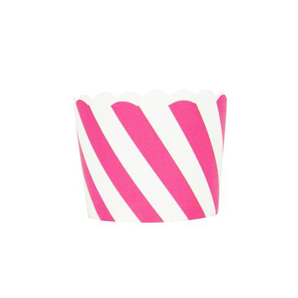HOT PINK AND WHITE STRIPED SMALL BAKING CUPS from Geese & Ganders