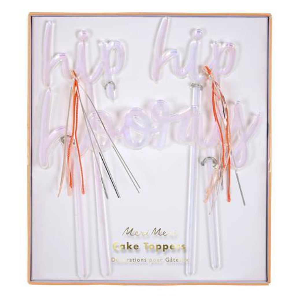 IRIDESCENT ACRYLIC HIP HIP HOORAY CAKE TOPPERS from Geese & Ganders