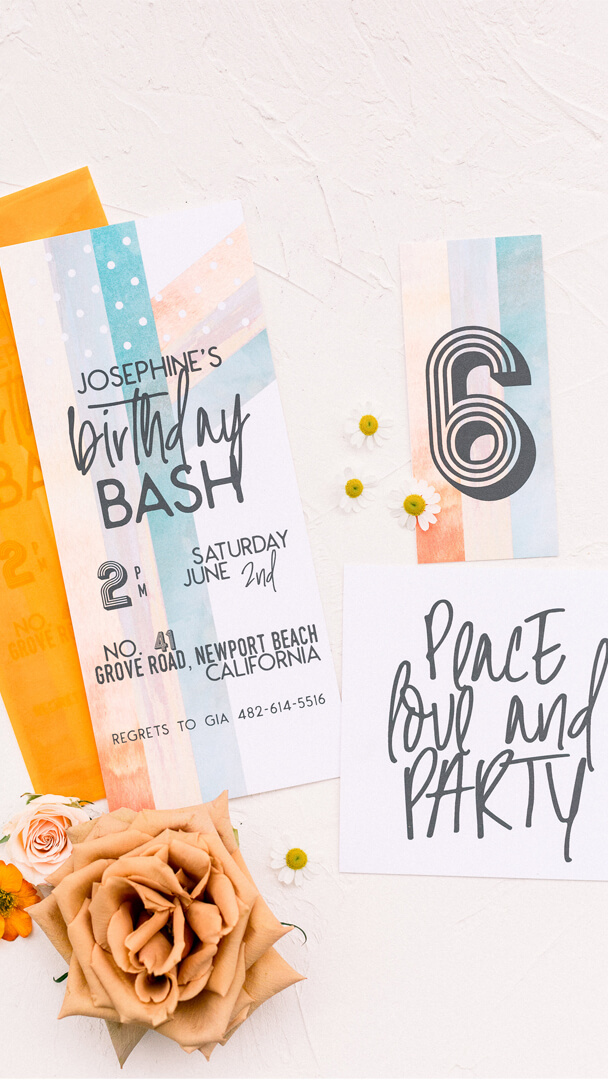 Invitations from Peace, Love & Party styled by Deets & Things | Black Twine