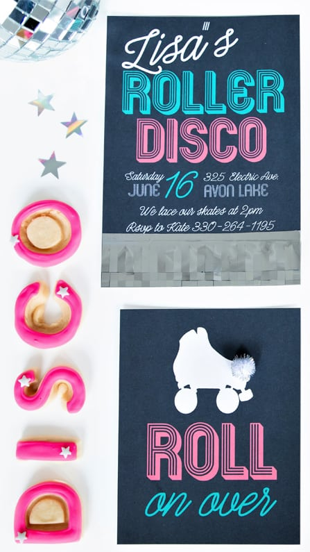 Invitations from a Roller Disco Derby Party In Collaboration with Geese & Ganders and Styled by La Petite Fete | Black Twine