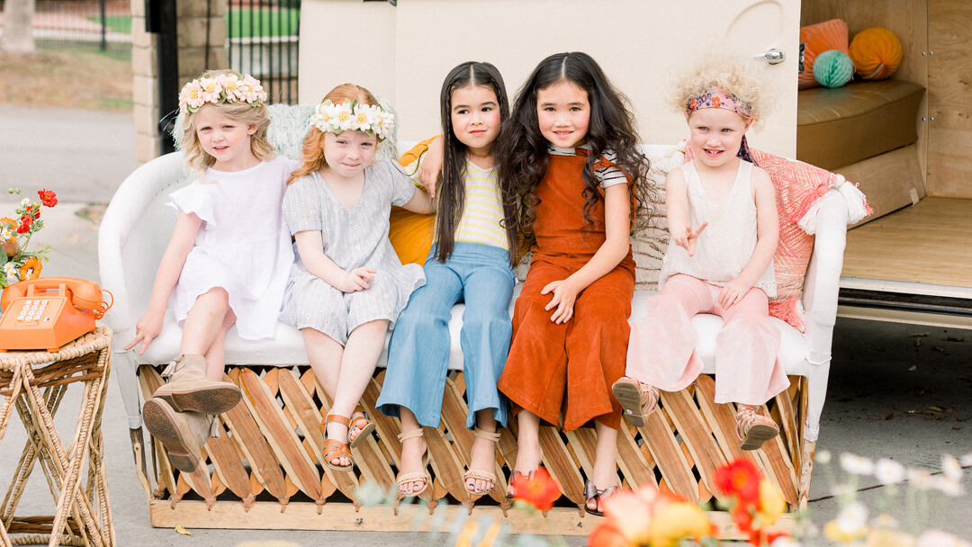 Kids Sitting from Peace, Love & Party styled by Deets & Things | Black Twine