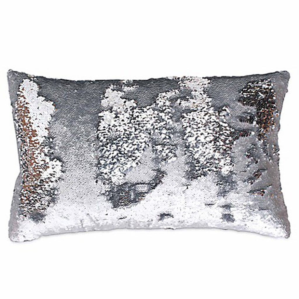 Mermaid Sequin Oblong Throw Pillow in Silver by Marlo Lorenz Melody