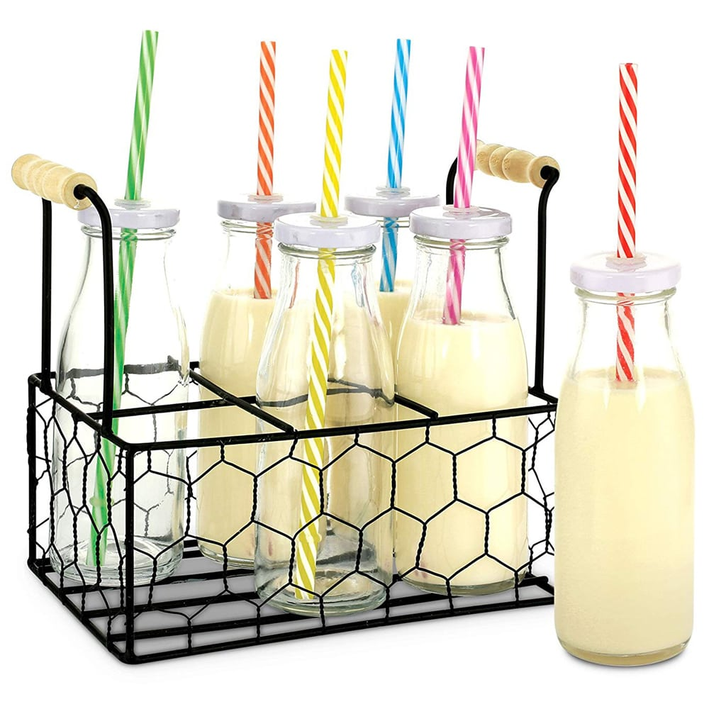 glass milk bottles with tray