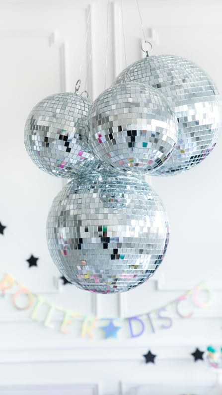Mirror Balls from a Roller Disco Derby Party In Collaboration with Geese & Ganders and Styled by La Petite Fete | Black Twine