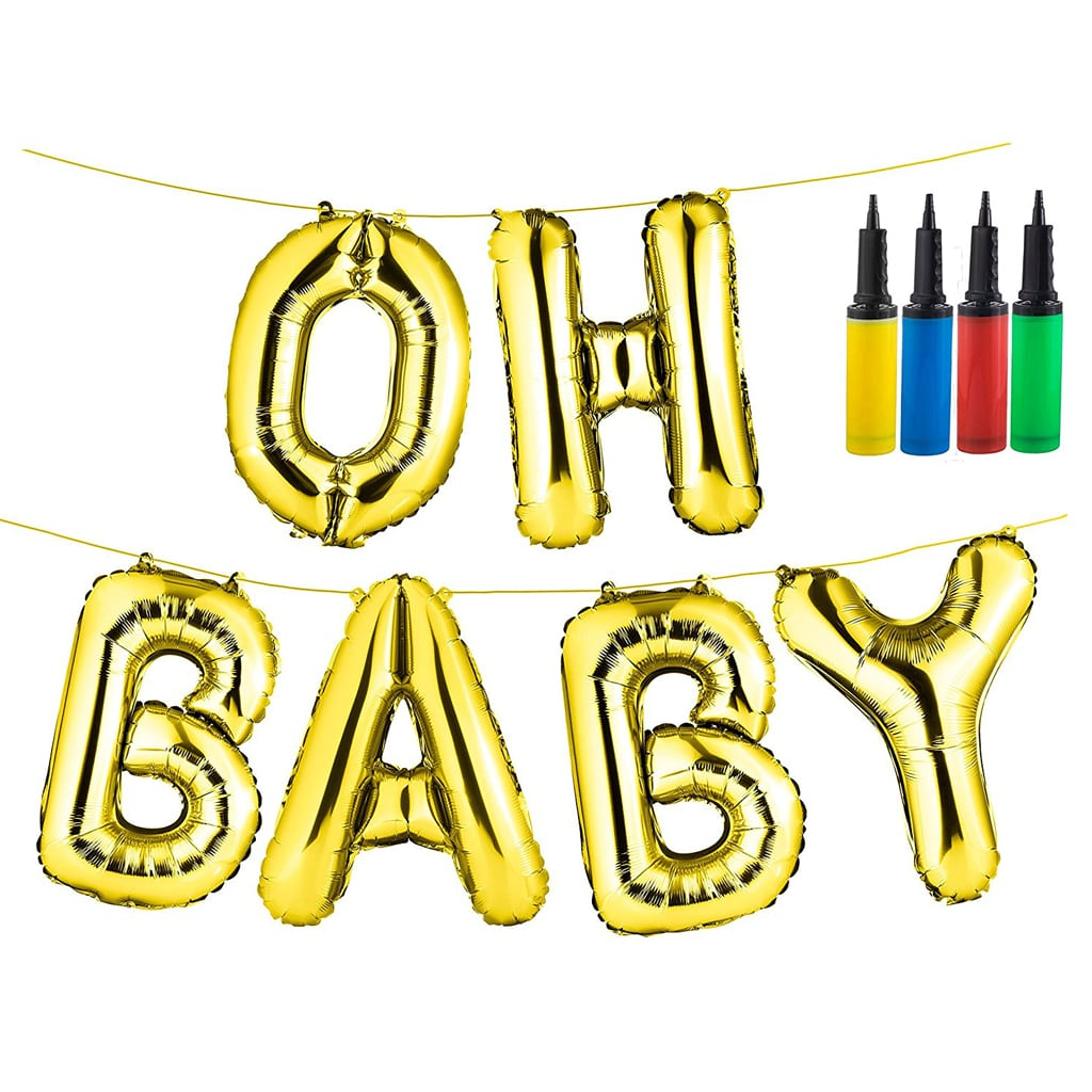 "OH BABY 16"" Gold Foil Baby Shower Balloons"