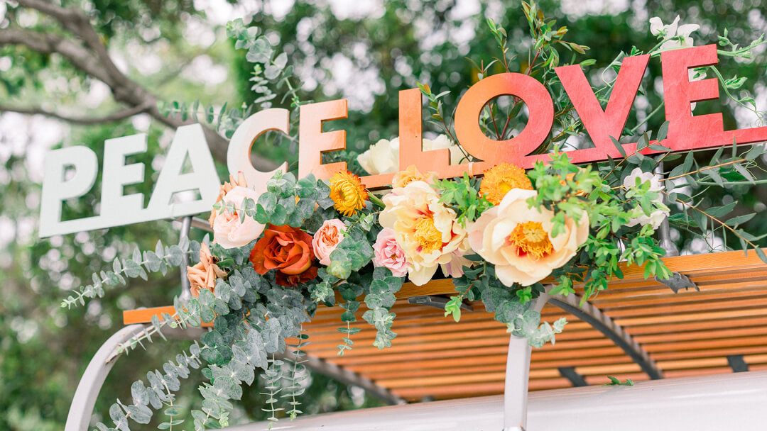 """Peace Love"" sign from Peace, Love & Party styled by Deets & Things 