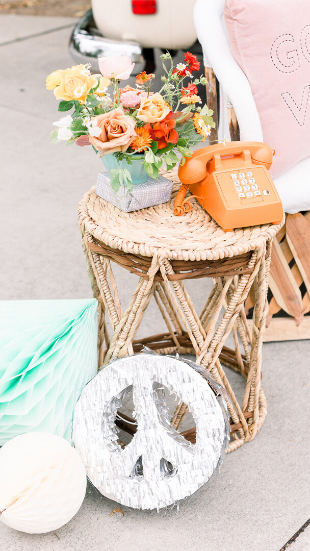 Old Phone, Peace Sign and Honeycombs from Peace, Love & Party styled by Deets & Things | Black Twine