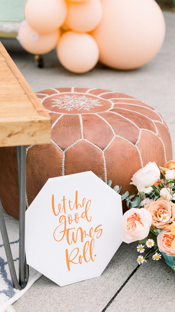 """Pillow and """"Let the Good times Roll"""" sign from Peace, Love & Party styled by Deets & Things   Black Twine"""