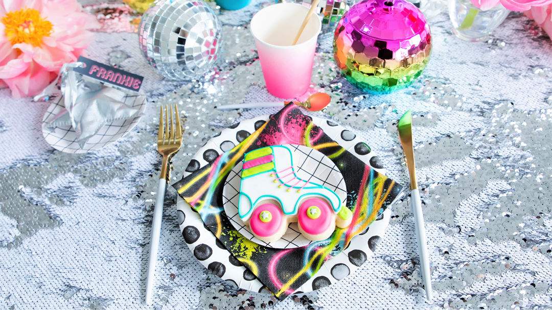 Place Setting from a Roller Disco Derby Party In Collaboration with Geese & Ganders and Styled by La Petite Fete | Black Twine