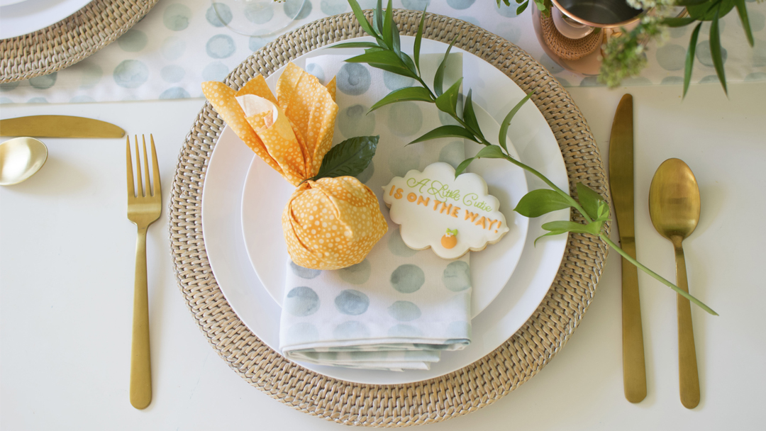 Place Setting from Hey Cutie Baby Shower styled by Twinkle Twinkle Little Party | Black Twine