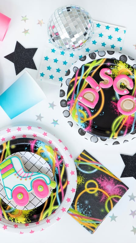 Place Setting, Disco and Roller Blade Cookies from a Roller Disco Derby Party In Collaboration with Geese & Ganders and Styled by La Petite Fete | Black Twine