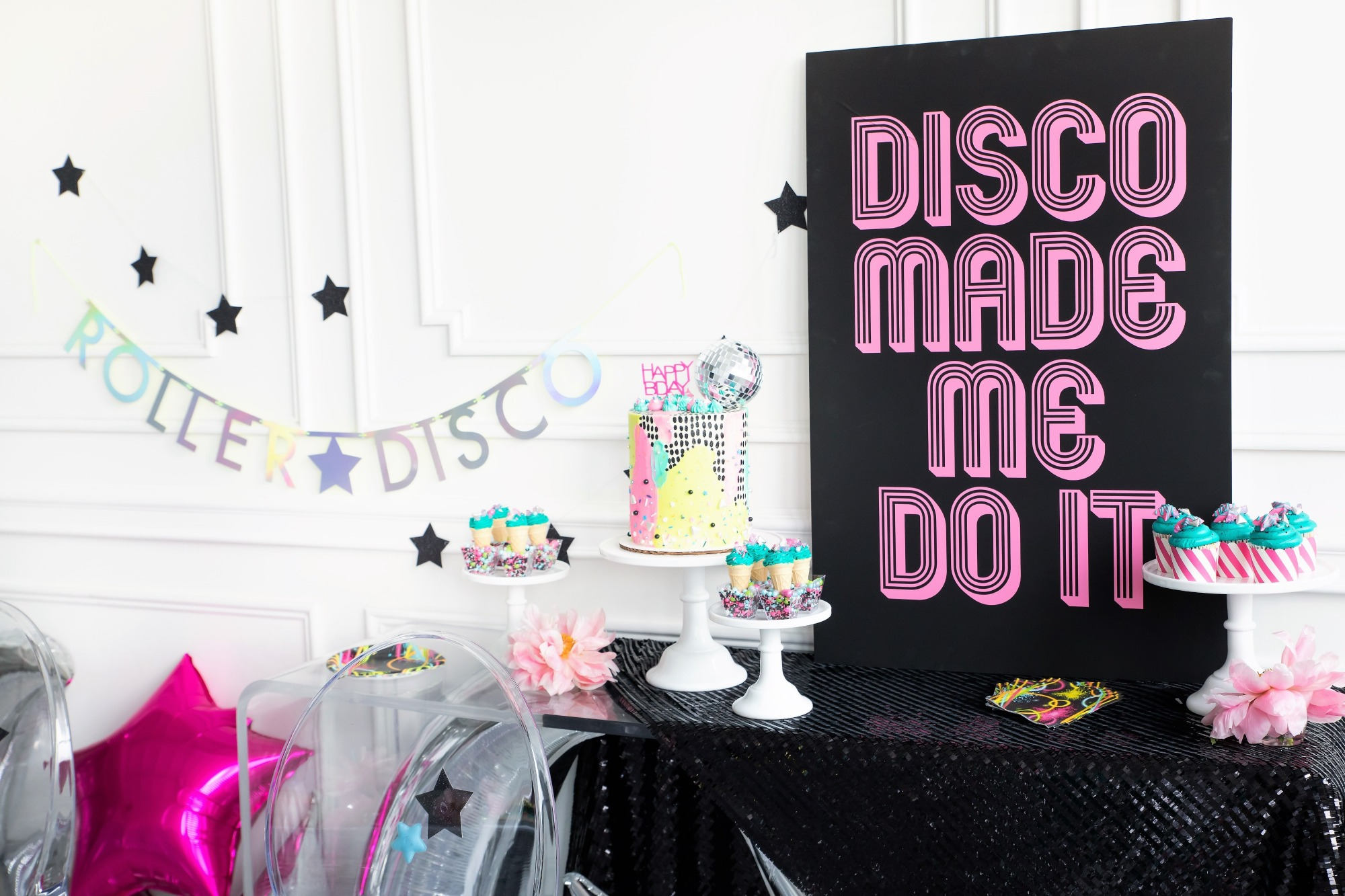 Dessert Table from a Roller Disco Derby Party In Collaboration with Geese & Ganders and Styled by La Petite Fete | Black Twine
