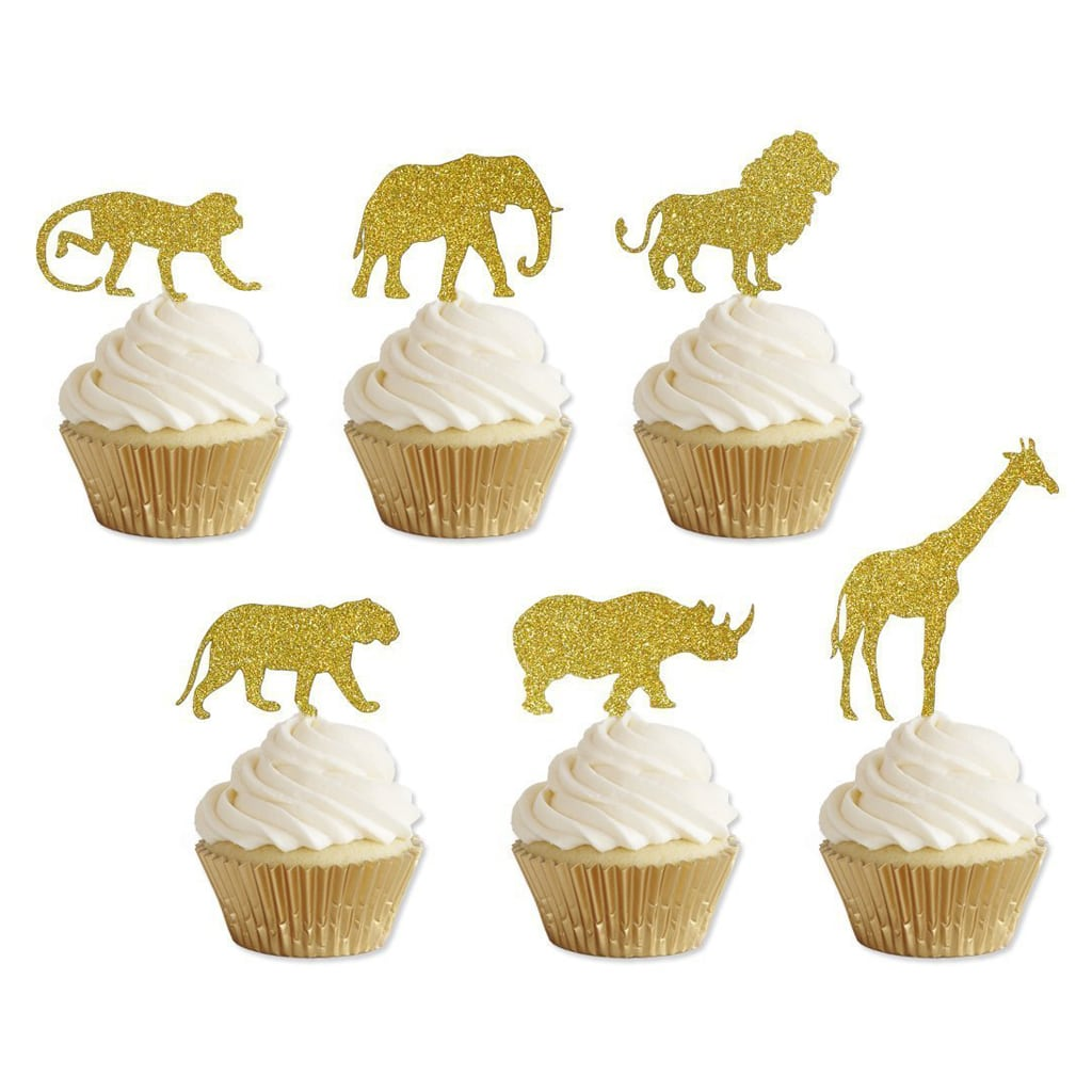 Gold Safari Animal Cupcake Toppers