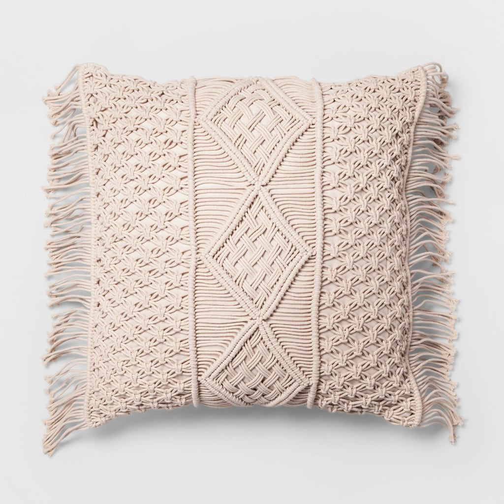 Square Pillow Macrame Cream Oversize
