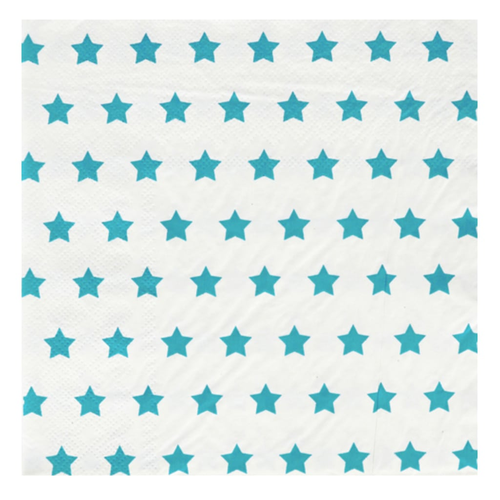 TURQUOISE AND WHITE STARS LARGE NAPKINS from Geese & Ganders
