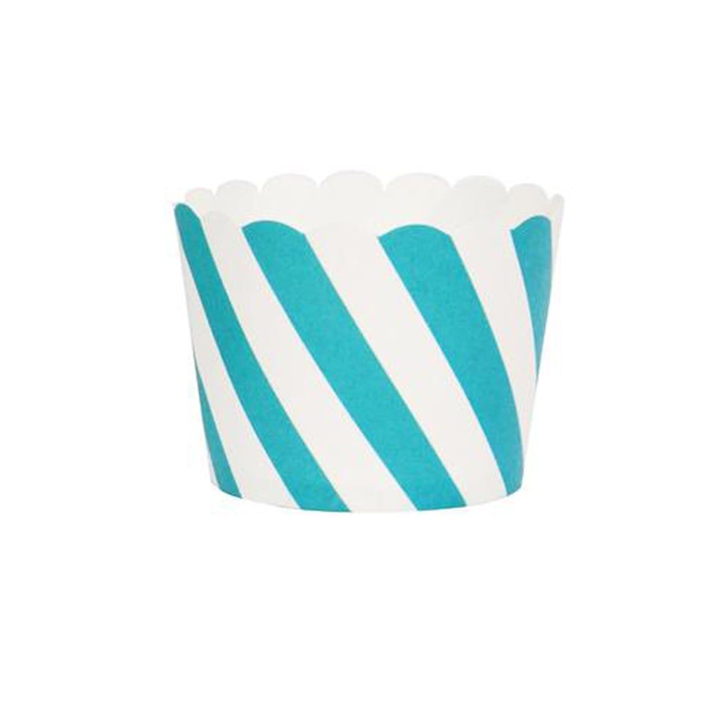 TURQUOISE AND WHITE STRIPED BAKING CUPS from Geese & Ganders