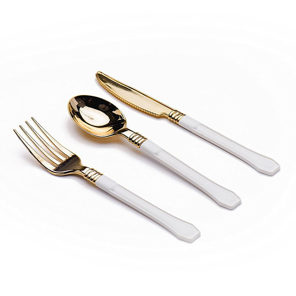 White and Gold Plastic Disposable Flatware