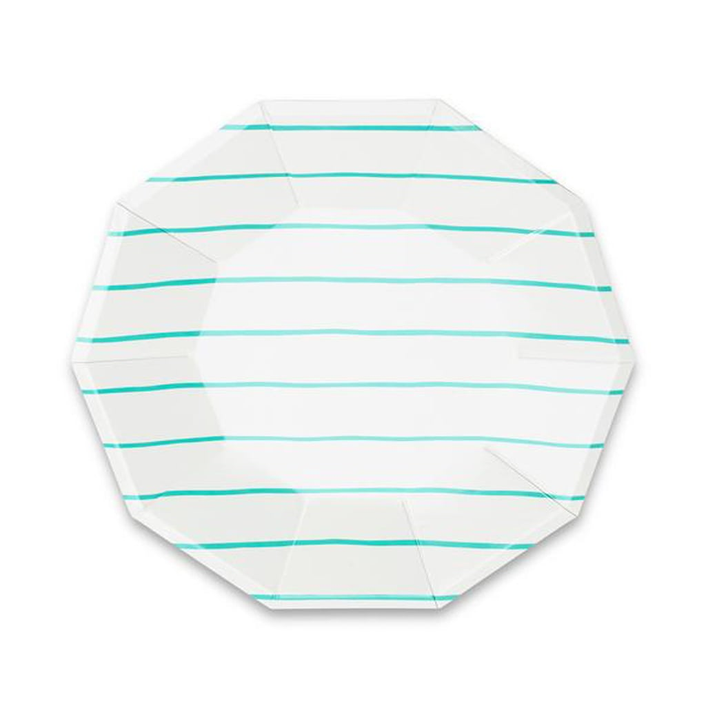 Striped Large Plates in Aqua from Oh Happy Day