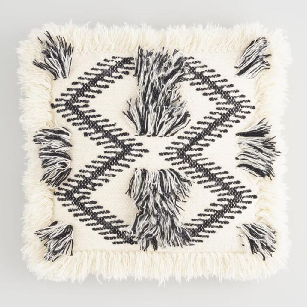 Black And White Woven Fringe Throw Pillow