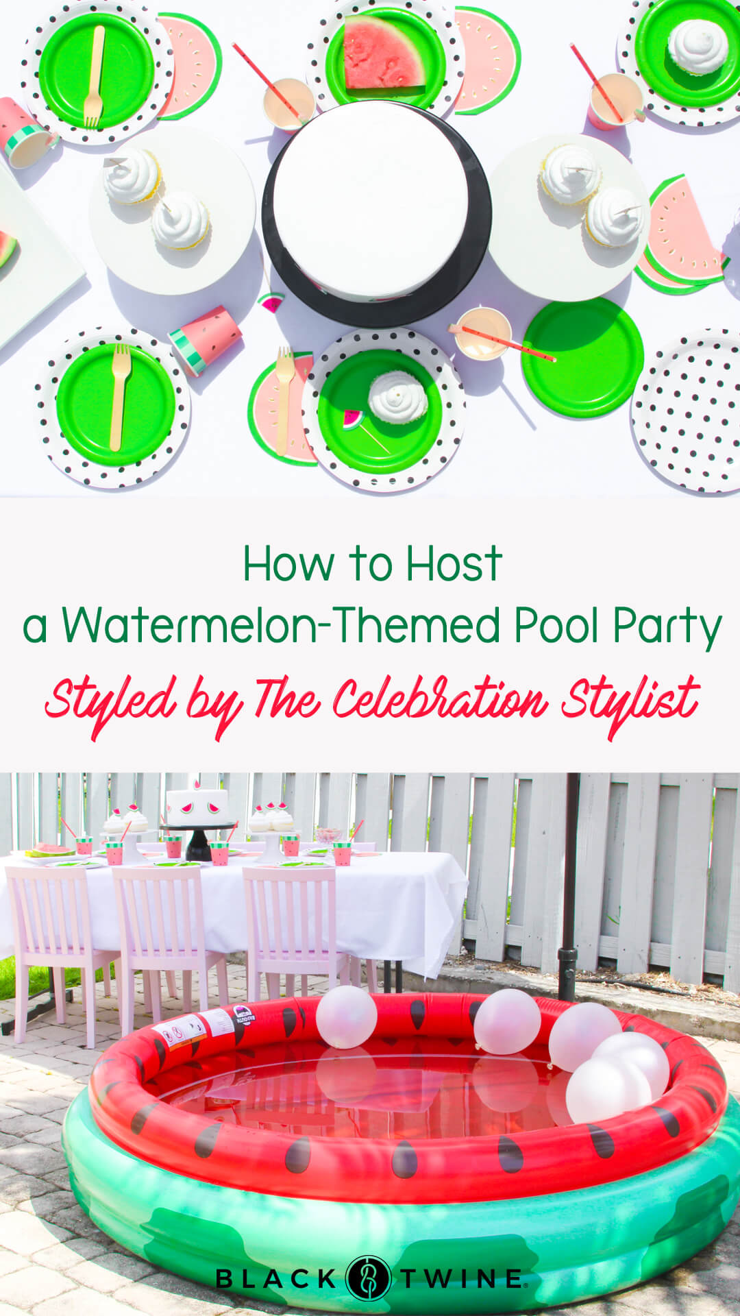 Tablescape, Watermelon Pool from a Watermelon-Themed Pool Party Styled by The Celebration Stylist In Collaboration with Evite