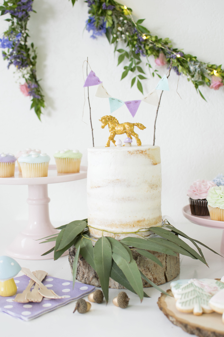 Cake from Unicorn Woodland Party In Collaboration with Slumberkins and Styled by Twinkle Twinkle Little Party | Black Twine