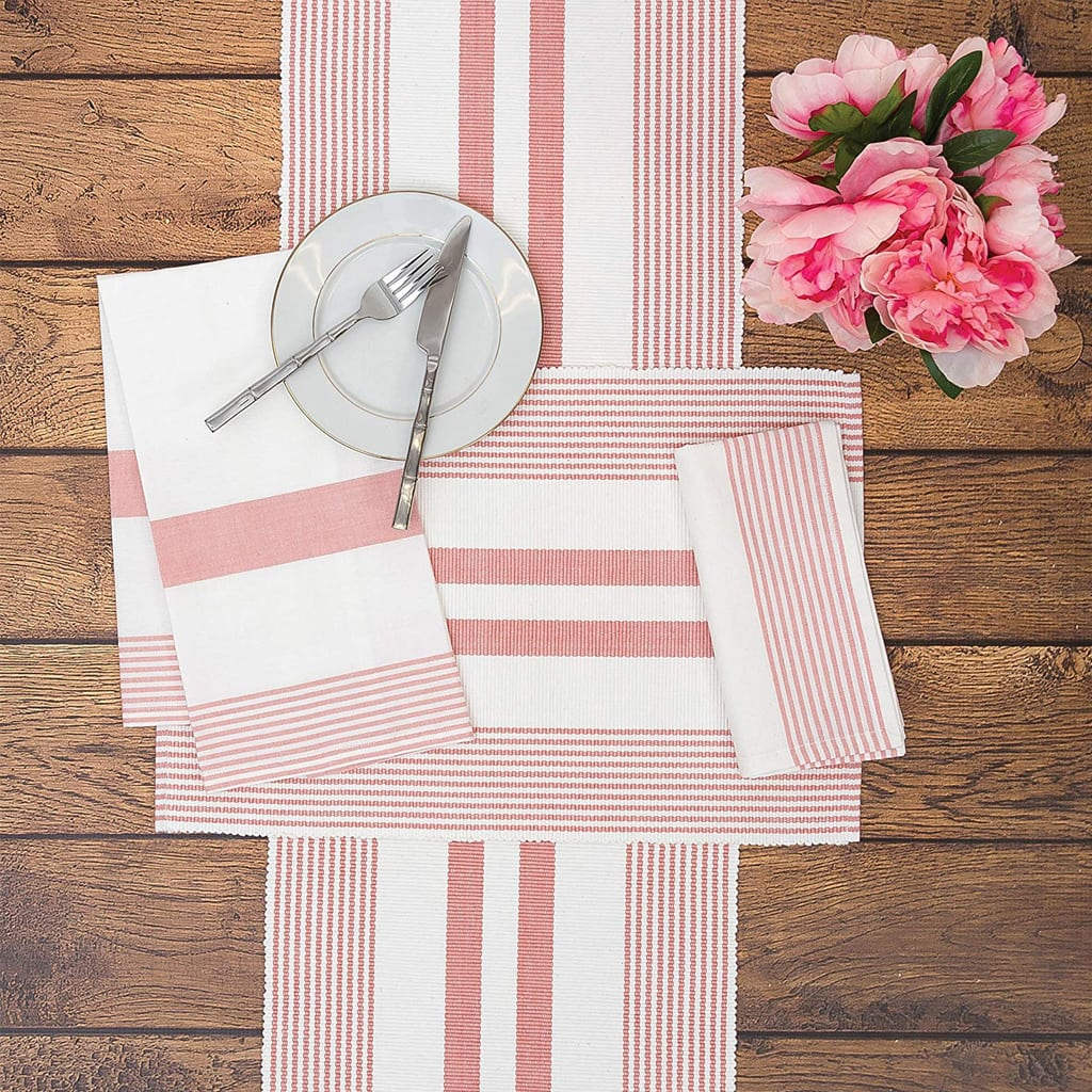 Classic Stripes Peony Red Table Runner