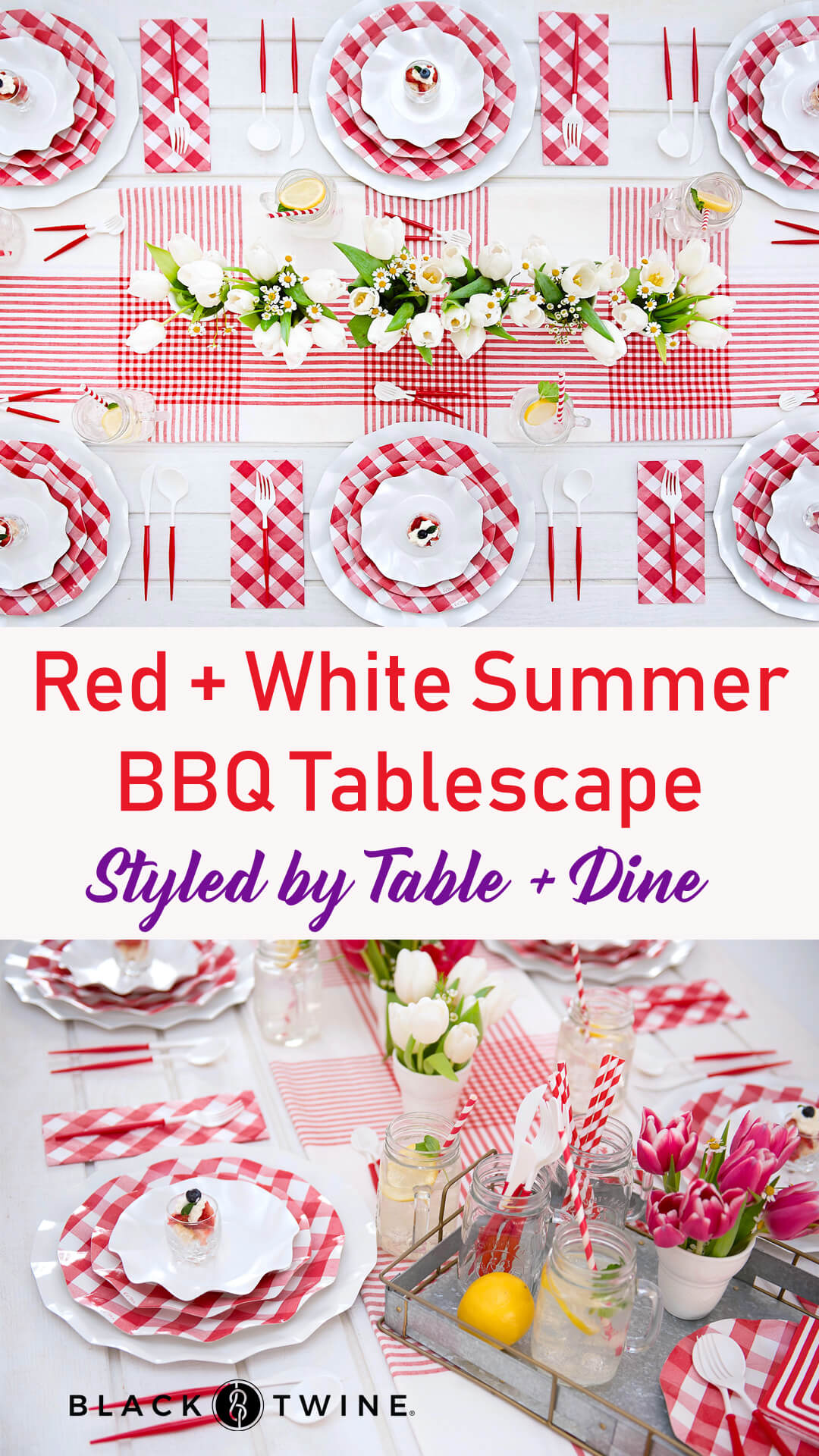 Tablescape and Place Setting from Red + White Summer BBQ Tablescape styled by Table + Dine | Black Twine