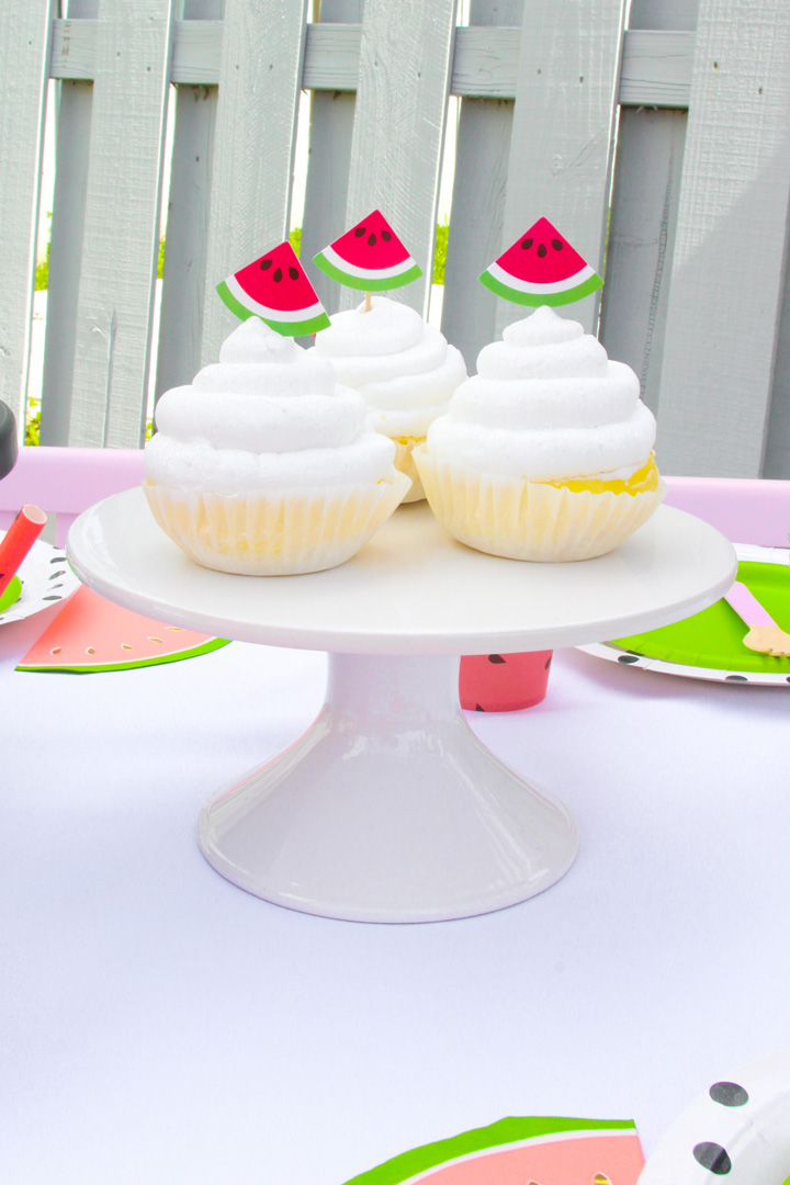 Cupcake with Watermelon Topper from a Watermelon-Themed Pool Party Styled by The Celebration Stylist In Collaboration with Evite