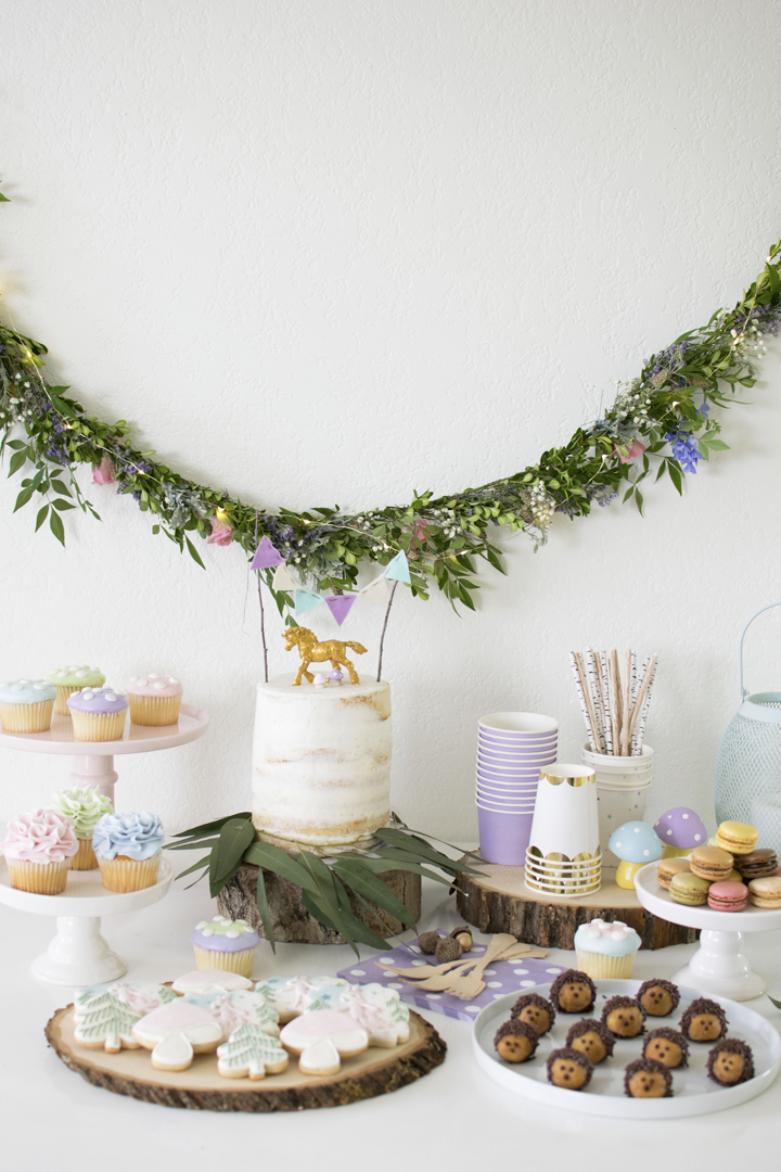 Dessert Tablescape from Unicorn Woodland Party In Collaboration with Slumberkins and Styled by Twinkle Twinkle Little Party | Black Twine