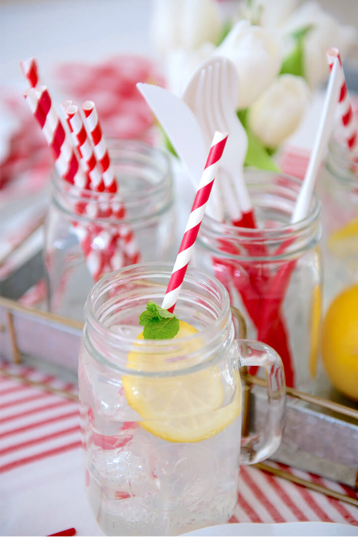 Lemonade from Red + White Summer BBQ Tablescape styled by Table + Dine   Black Twine