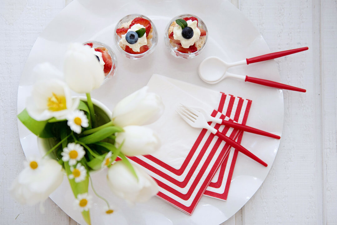 Napkins and Flatware from Red + White Summer BBQ Tablescape styled by Table + Dine | Black Twine