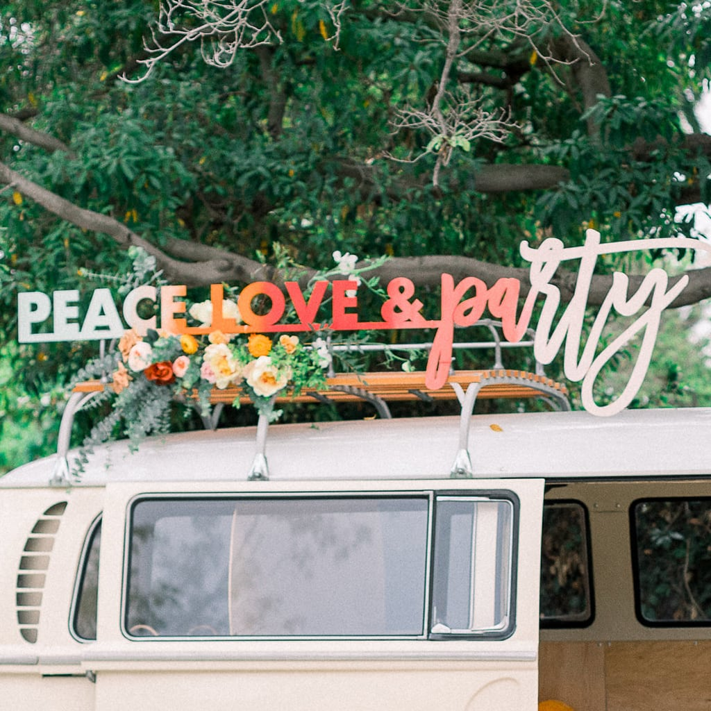 PEACE LOVE PARTY BACKDROP SIGN from Happily Ever Etched