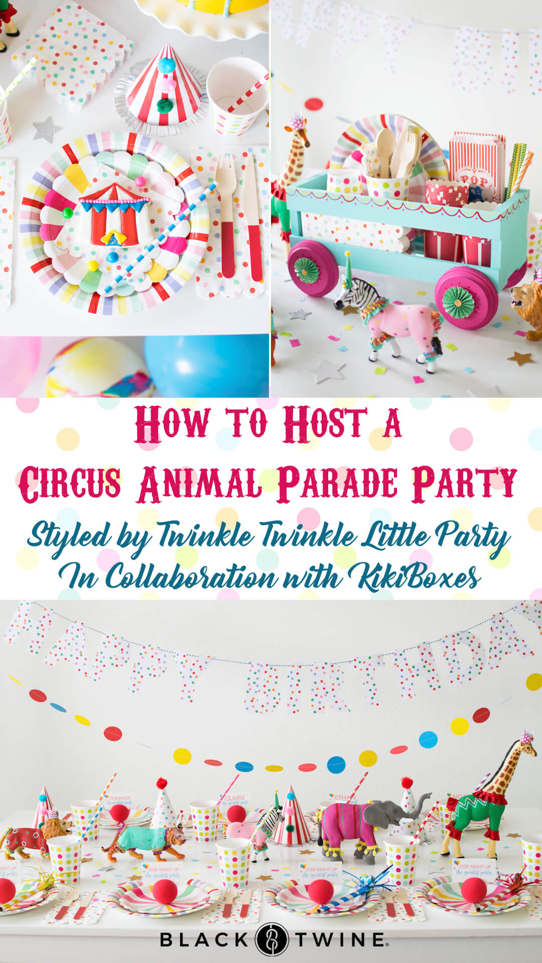 Photo Collage from Circus Animal Parade Party styled by Twinkle Twinkle Little Party | KikiBoxes | Black Twine