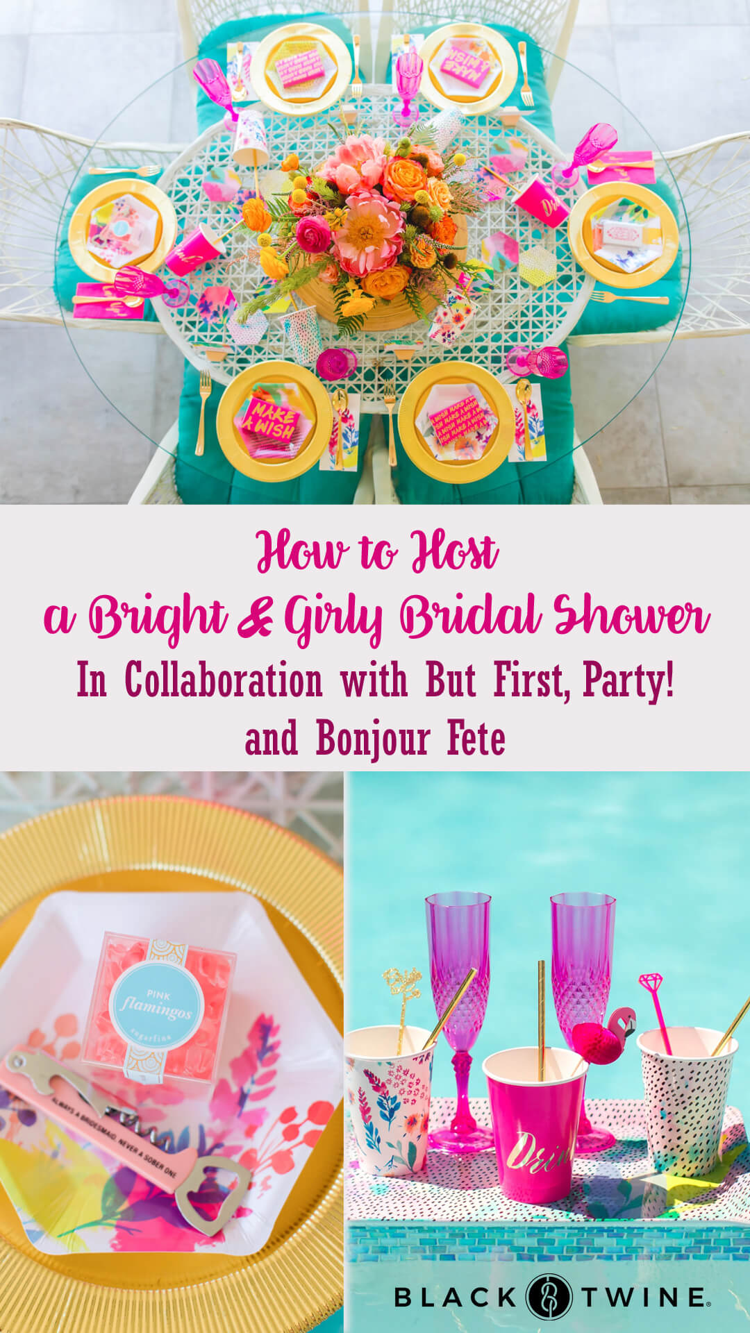 Photo Collage of Tablescape, Place Setting and Tray of Cups and Flutes from Bachelorette Brunch by But First Party and Bonjour Fete | Black Twine