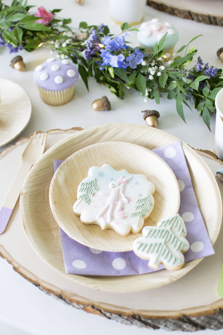 Pine and Unicorn Cookies, Place Setting from Unicorn Woodland Party In Collaboration with Slumberkins and Styled by Twinkle Twinkle Little Party | Black Twine