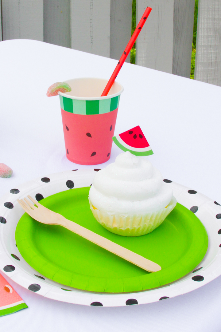 Place Setting with Cupcake, Watermelon Cup and Straw from a Watermelon-Themed Pool Party Styled by The Celebration Stylist In Collaboration with Evite