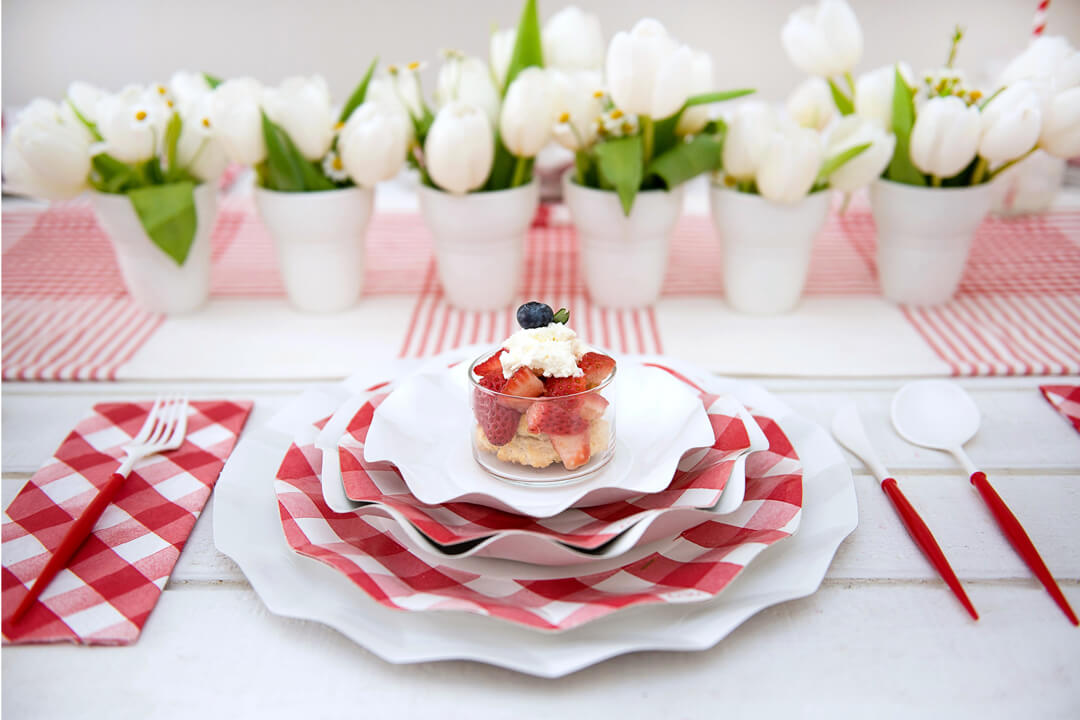 Place Setting from Red + White Summer BBQ Tablescape styled by Table + Dine | Black Twine