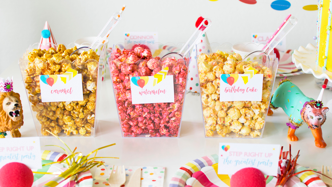 Flavored Popcorn Bar from Circus Animal Parade Party styled by Twinkle Twinkle Little Party | KikiBoxes | Black Twine