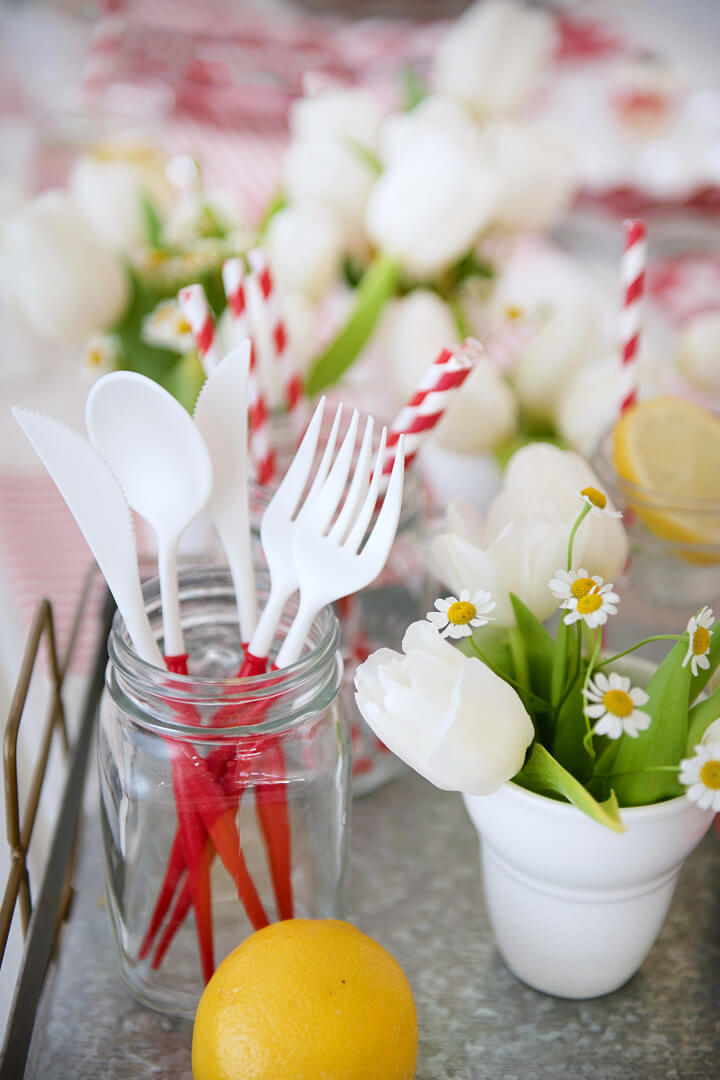 Spoon, Fork and Daisies from Red + White Summer BBQ Tablescape styled by Table + Dine | Black Twine
