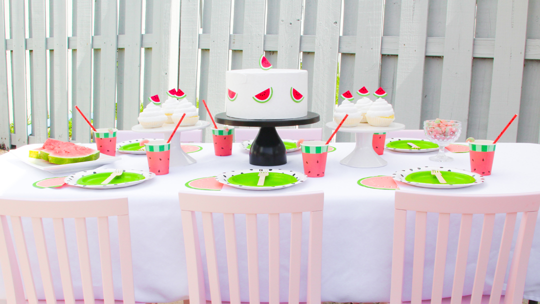 Tablescape from a Watermelon-Themed Pool Party Styled by The Celebration Stylist In Collaboration with Evite