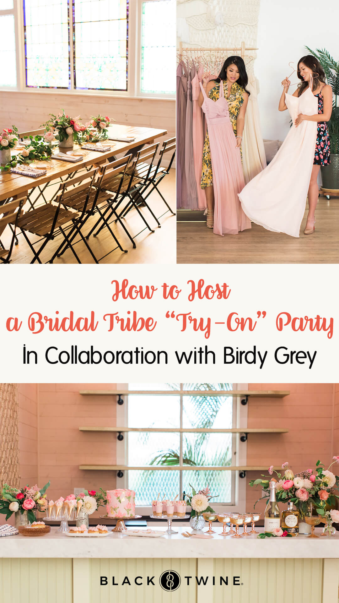 "Tablescape, Place Setting and Bridesmaids Trying Dresses On from Bridal Tribe ""Try-On"" Party styled by Black Twine In Collaboration with Birdy Grey"