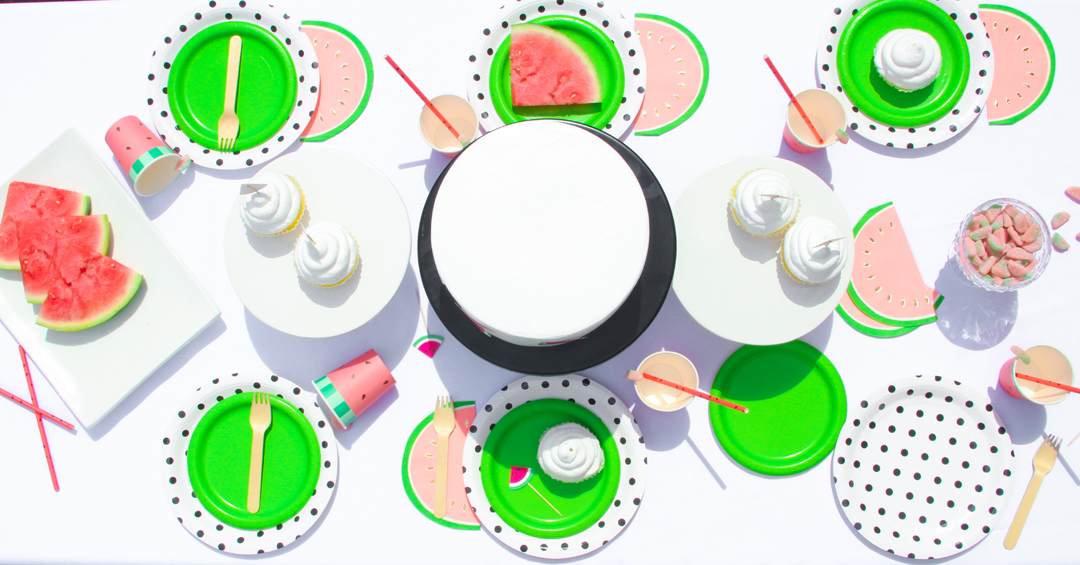 Place Setting from a Watermelon-Themed Pool Party Styled by The Celebration Stylist In Collaboration with Evite