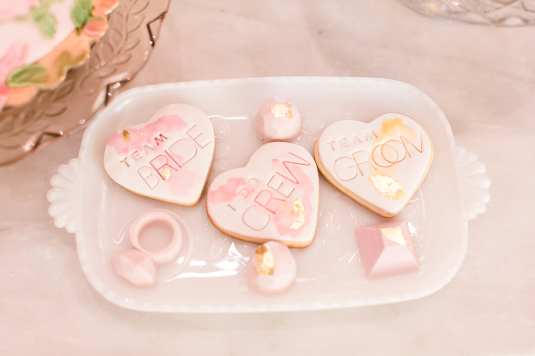 """Team Groom, Team Bride, I Do Crew Cookies from Bridal Tribe """"Try-On"""" Party styled by Black Twine In Collaboration with Birdy Grey"""