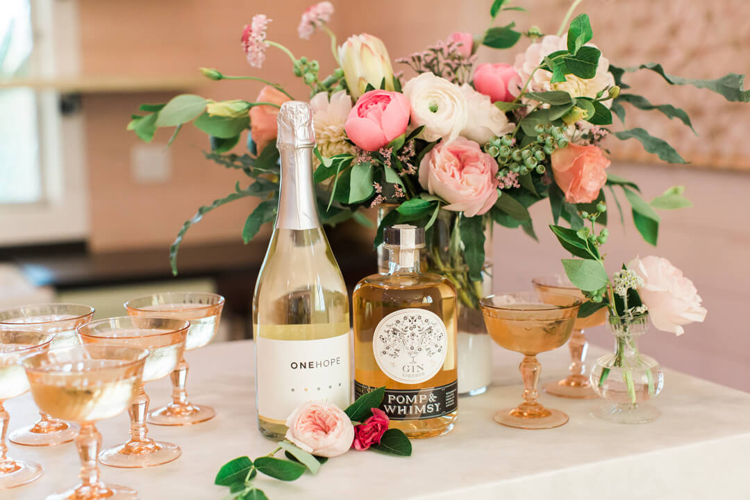 "Wine, Wine Glasses and Flowers from Bridal Tribe ""Try-On"" Party styled by Black Twine In Collaboration with Birdy Grey"